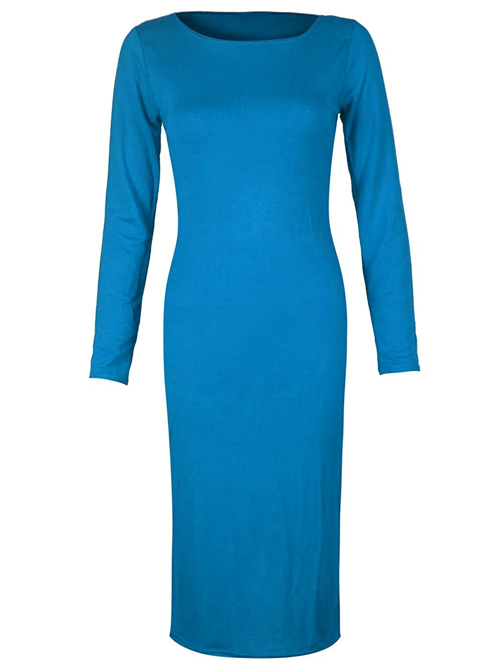 ML, Turquoise Womens Long Sleeve Scoop Neck Midi Dress Candy Girl Clothing