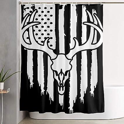 American Flag Buck Whitetail Deer Shower Curtain Repellent Fabric Mildew Resistant Machine Washable Bathroom Anti