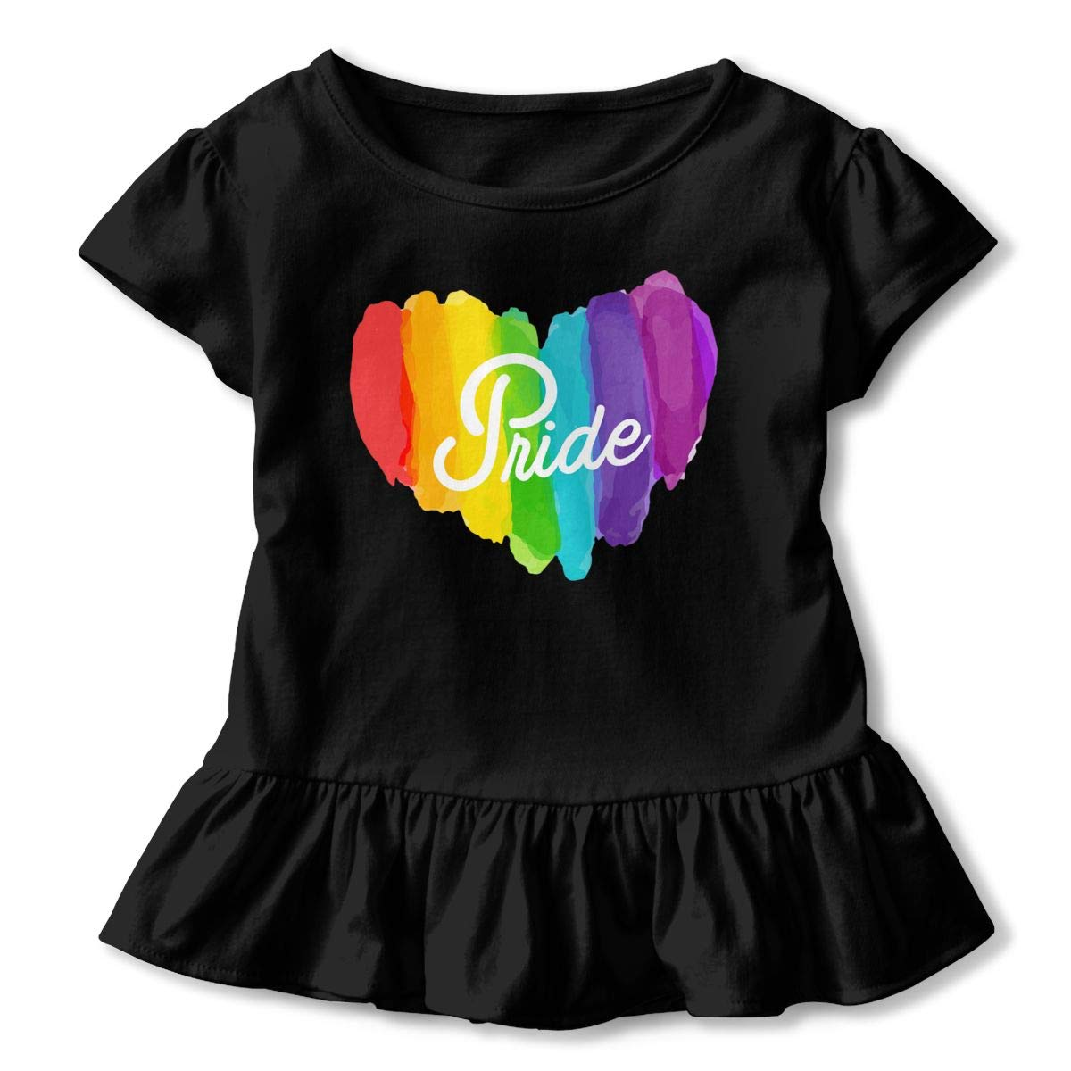 Rainbow Paint Toddler Baby Girls Cotton Ruffle Short Sleeve Top Basic T-Shirt 2-6T