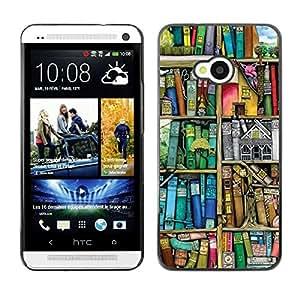 Be Good Phone Accessory // Dura Cáscara cubierta Protectora Caso Carcasa Funda de Protección para HTC One M7 // Reading Pastel Library Teacher Teal