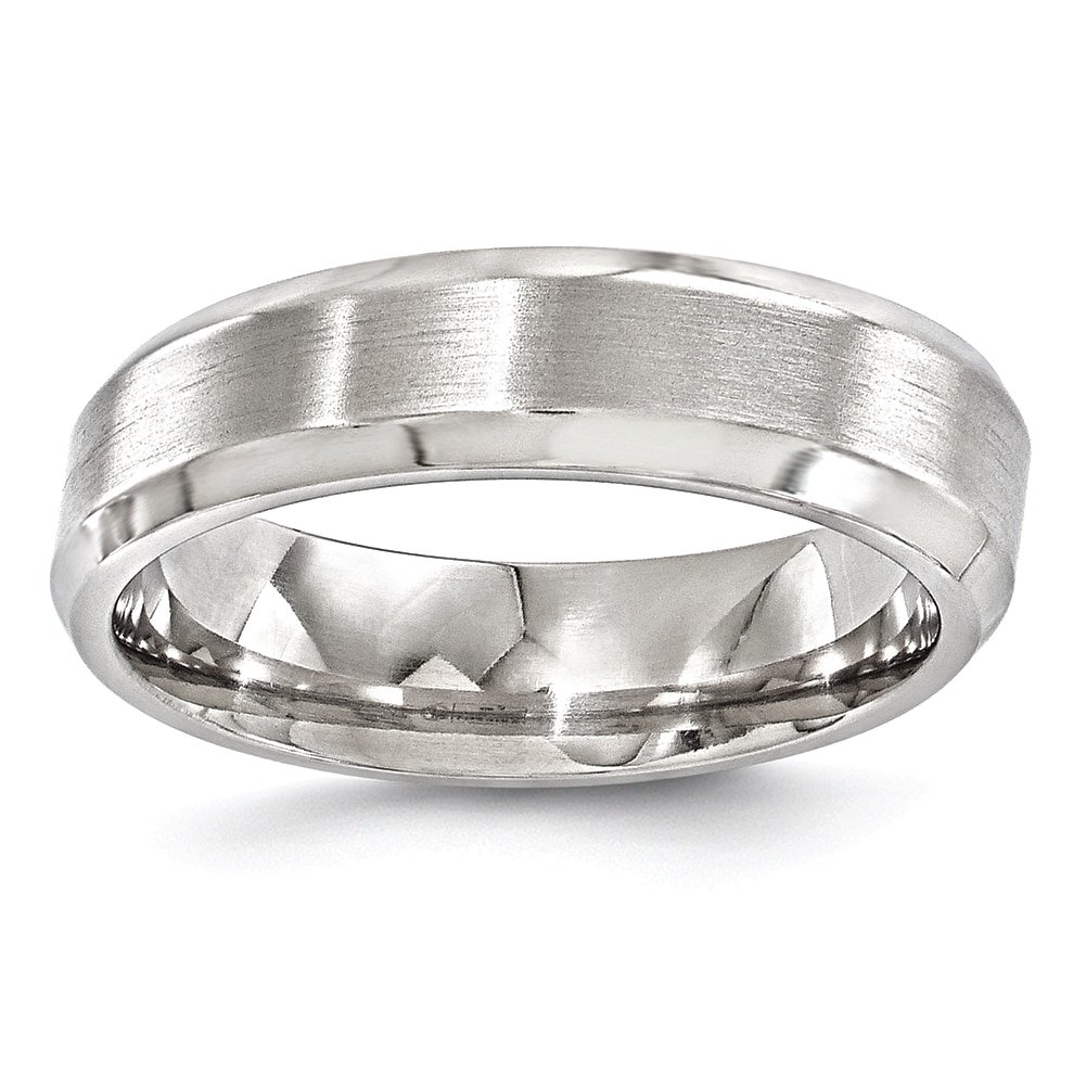 Edward Mirell Titanium Brushed /& Polished Beveled 6mm Band