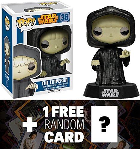 Emperor: Funko POP! x Star Wars Vinyl Bobble-Head Figure w/ Stand + 1 FREE Official Star Wars Trading Card Bundle [40727]