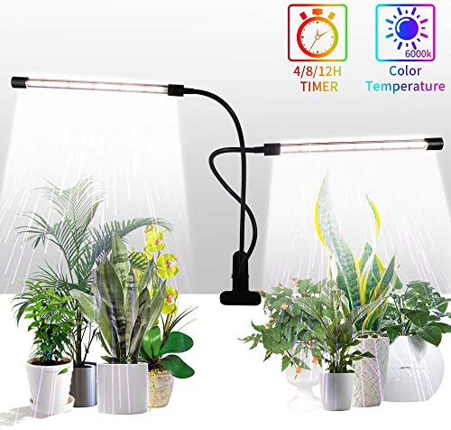 Grow Light,GHodec Sunlight White 50W 84 LEDs Dual Head Clip Plant Lights for Indoor Plants, 4 8 12H Timer 5 Dimmable Levels