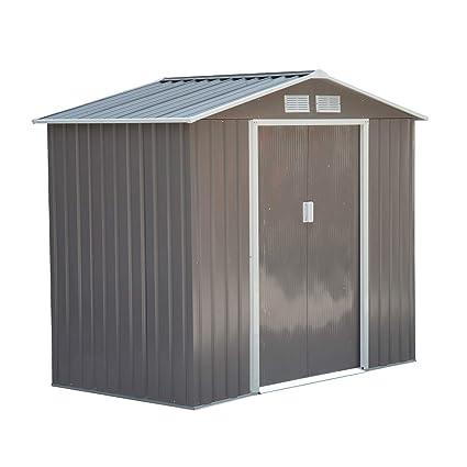 Outsunny Caseta de Jardín Tipo Cobertizo Metálico para Almacenamiento de Herramientas Base Incluida 4 Ventanas 213x127x185cm