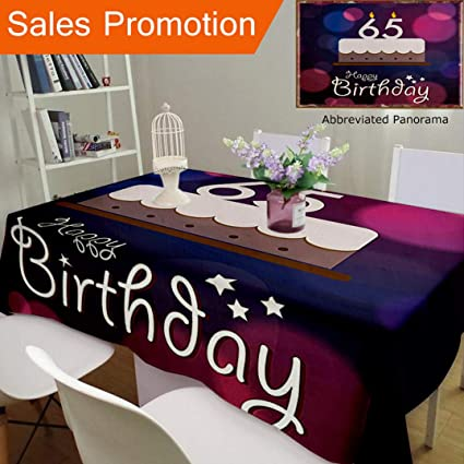 Unique Design Cotton And Linen Blend Tablecloth 65Th Birthday Decorations Ceremony Artwork With Cake Hand