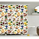 Amazon.com: Ambesonne Mushroom Decor Shower Curtain Set ...