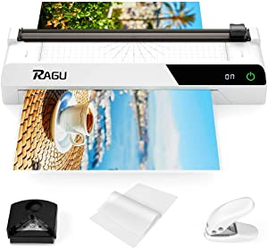2020 Upgraded RAGU A3 Laminator, 6-in-1 Multifunction 13 Inches Thermal Laminator with Touch Screen, Paper Trimmer, 40 Laminating Pouches, Corner Rounder, Single Hole Punch, for Office/School(White)