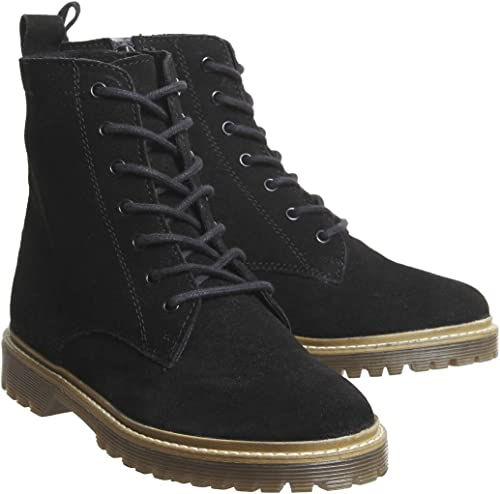 Womens Office Aston Ribbed Sole Lace Up Boots BLACK LEATHER Boots