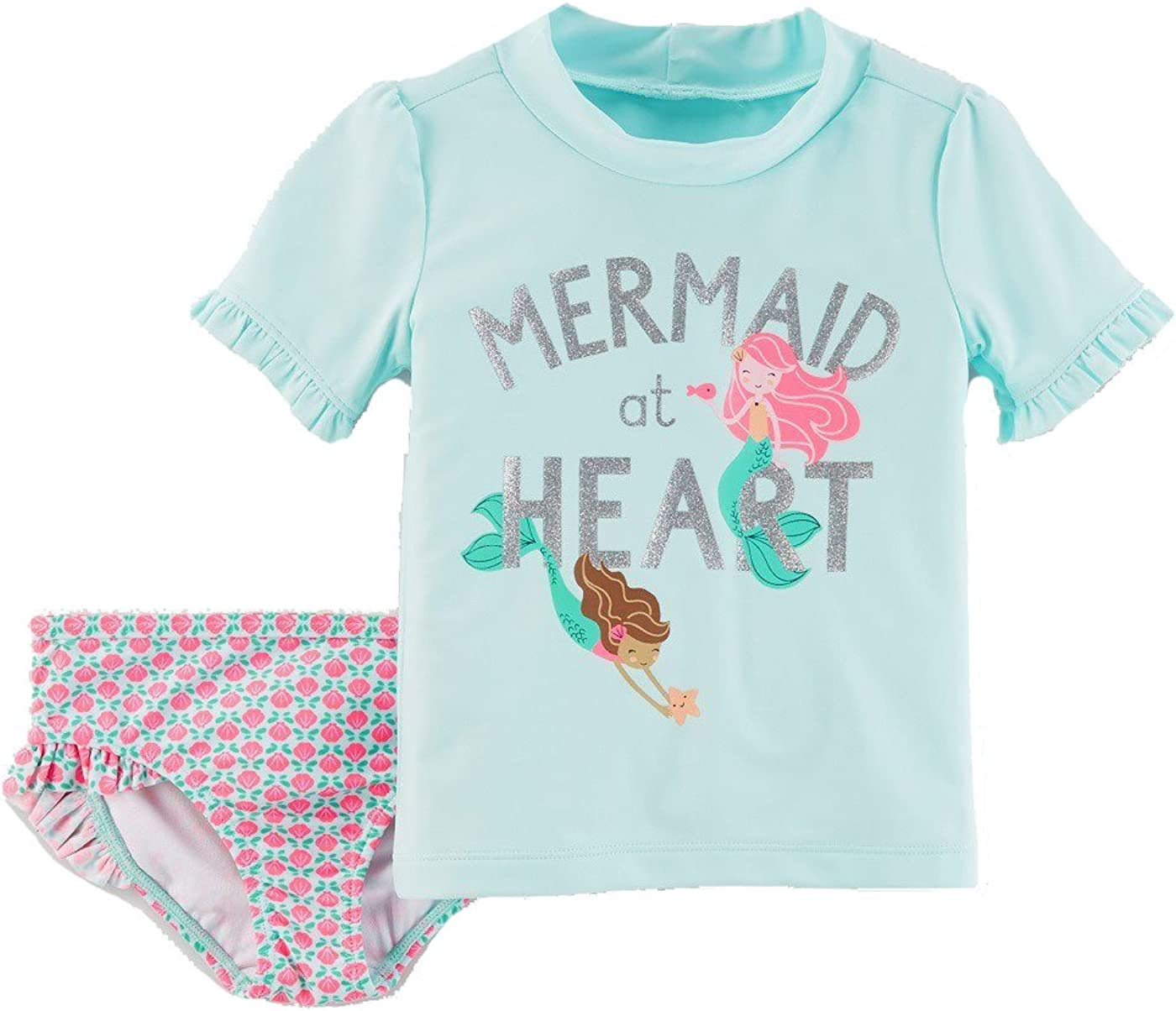 Just One You by Carters Toddler Girls Mermaid At Heart Rash Guard Swim Set Turquoise