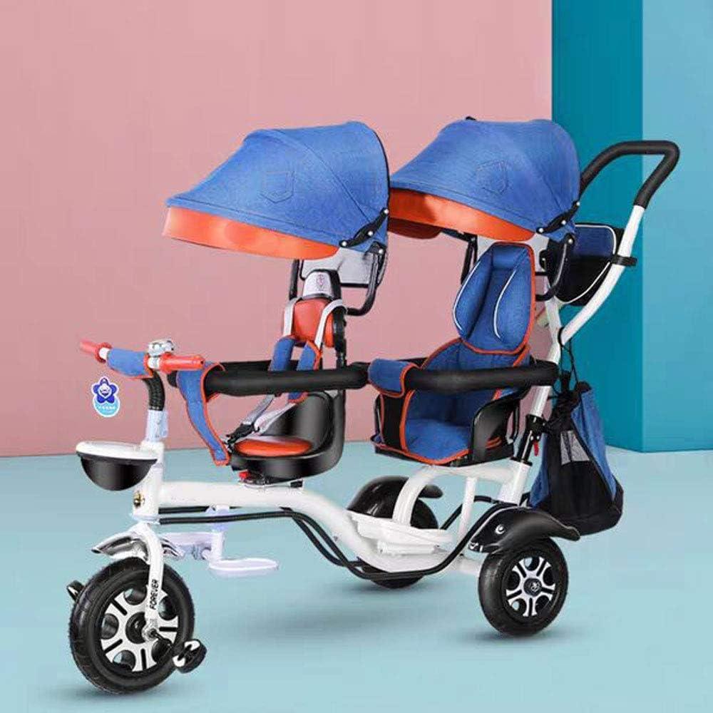 TATANE Triciclo De Niños De La Bici Doble, Acero De Alto Carbón del Asiento Doble De La Compra, Cochecito De Bebé De 1-7 Años De Edad,A