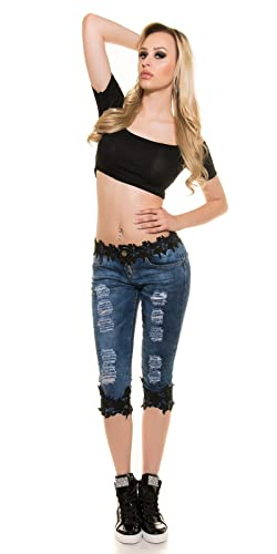 Womens Girls distressed ripped skinny Capri Jeans with Black Lace trim from Noir  Triple XXX, sizes UK 6 8 10 12 14: Amazon.co.uk: Clothing
