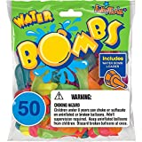 Funsational Latex Water Bomb Balloons with Filler Nozzle, 50-Count, Assorted Colors