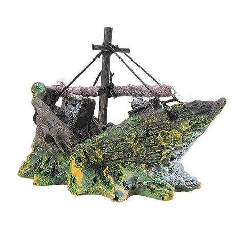 Aikesi Decoraciones de Barco Pirata Acuario, paisajismo Decoración Glass Fish Bowl Decoración pequeña de la