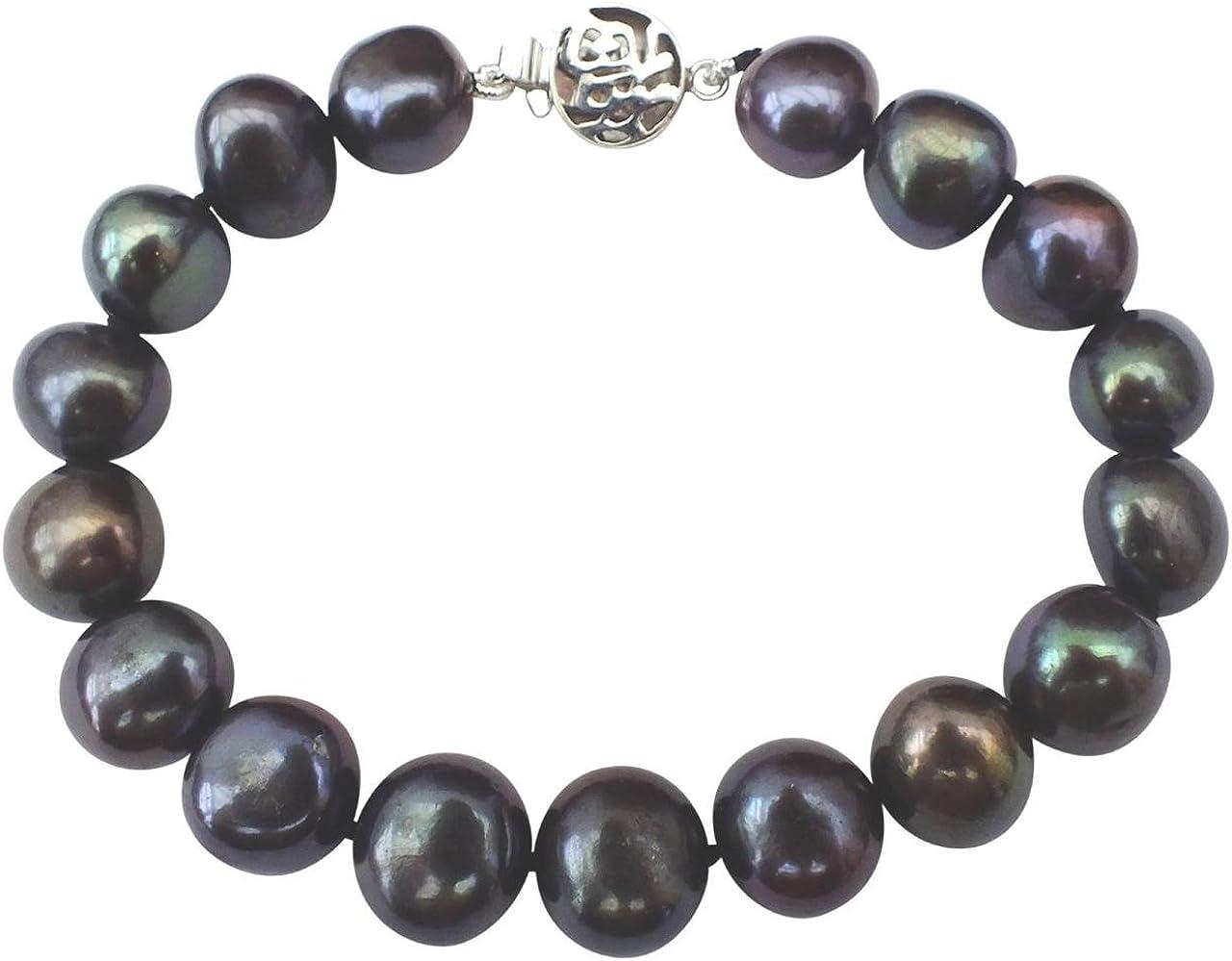 "Beautiful  natural 10-11mm south sea black pearl bracelet 7.5-8/"" 14k white gold"