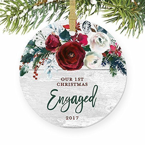 Modern Farmhouse Engagement Ornament 2017, 1st Christmas Engaged, Gift for Couple Bride & Groom to Be Rustic Decor Present Ceramic Keepsake Present 3
