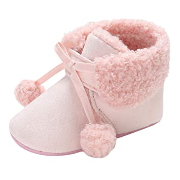 0485ae3f90a11 AutumnFall Clearance Sale! Baby Girls Boys Soft Booties Hair Ball Bandage  Snow Boots Toddler Warm Shoes (Age:0~6 M, Pink): Amazon.ca: Pet Supplies