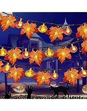 Łańcuch świetlny z liśćmi klonu, dekoracja jesienna, dekoracja na Halloween, idealny łańcuch świetlny, dekoracja na Boże Narodzenie
