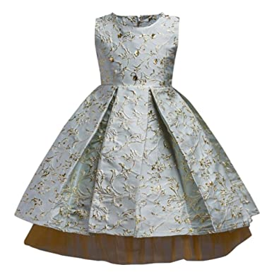 KONFA Girls Bronzing Embroidery Princess Dress,Suitable For 3-11 Years Old ,Wedding