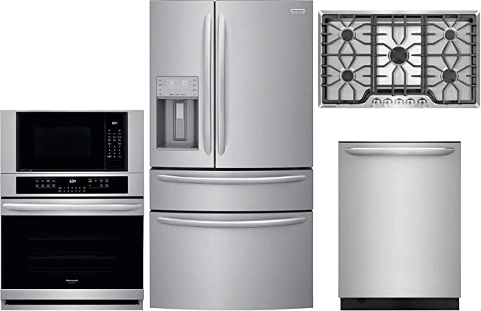 Amazon Com Frigidaire 4 Piece Kitchen Appliance Package With Fg4h2272uf 36 French Door Refrigerator Fgmc3066uf 30 Double Wall Oven Microwave Combo Fggc3645qs 36 Gas Cooktop And Fgid2476sf 24 Built In Fully Integrated Dishwasher In