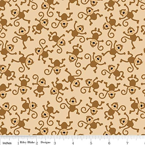 1 Yard Zoofari Monkey by Doodlebug Design from Riley Blake 100% Cotton Quilt Fabric C3032 Brown