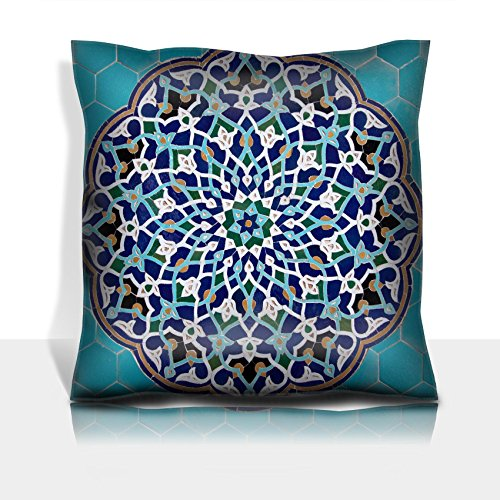 Liili Throw Pillowcase Polyester Satin Comfortable Decorative Soft Pillow Covers Protector sofa 16x16, 1pack Islamic mosaic pattern with blue tiles 28815972 by Liili