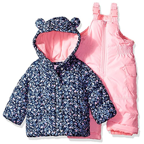 Carter's Baby Girls 2-Piece Snowsuit With Ears, Navy Ditsy/Pink Neon, (Toddler Snowsuits)