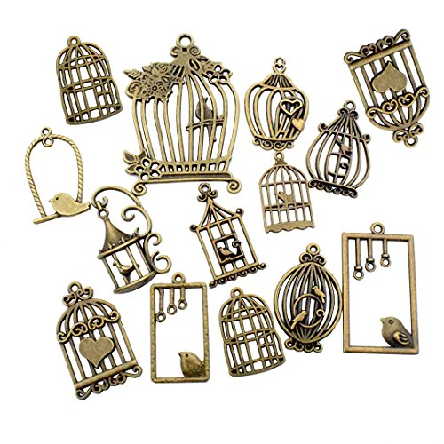 100g Birdcage Charms Collection - Hollow Bird Cage Love Bird Cage Bird In a Cage Metal Pendants for Jewelry Making DIY Findings (Antique Bronze HM30)
