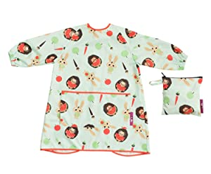Tidy Tot BLW Long Sleeve Waterproof Coverall Apron bib for Food, Paint, Messy Play. Free Bag (Tidy Tot Toddler Bib Pistachio Green)