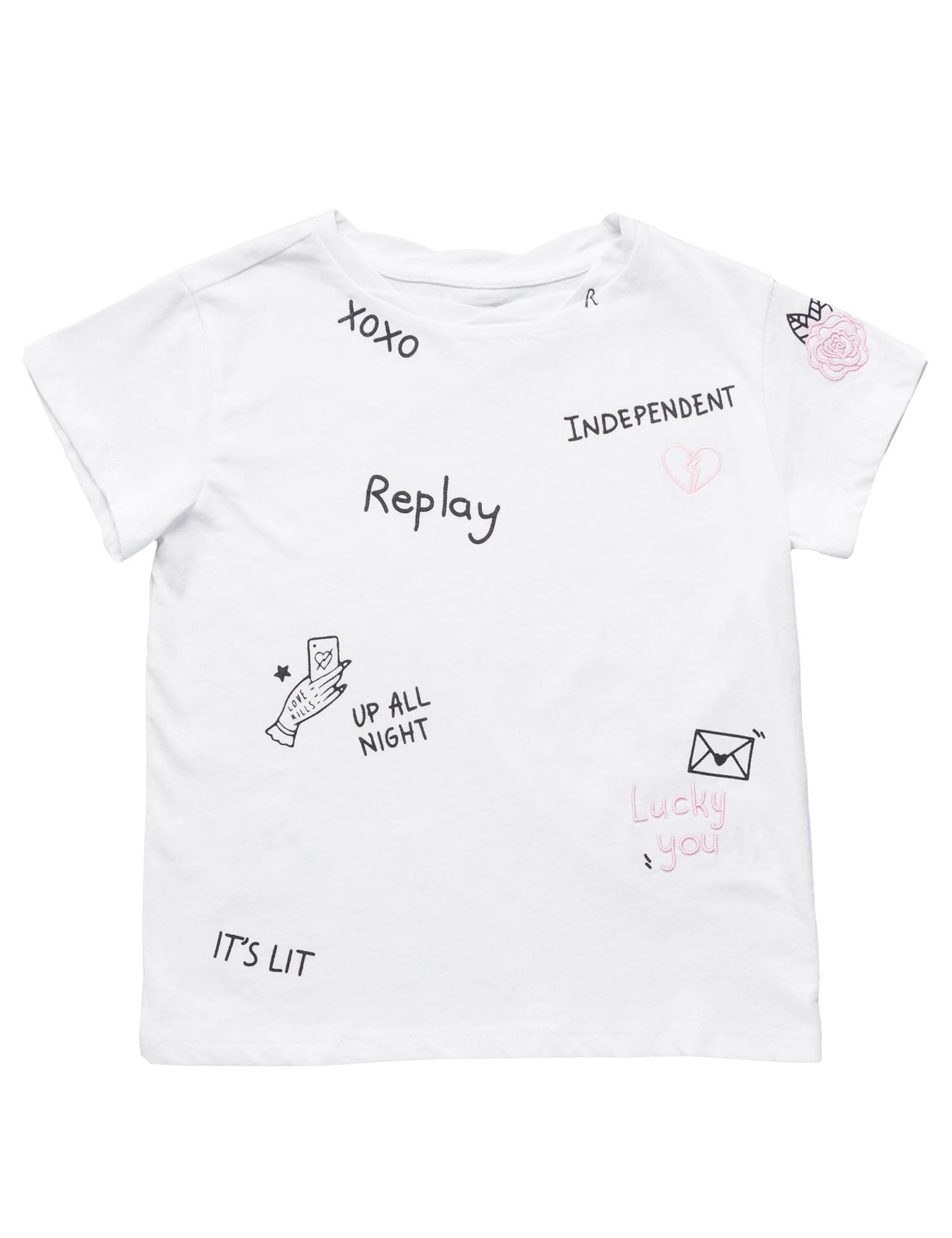 Replay Basic Cotton Jersey Girl's T-Shirt In White In Size 8 Years White