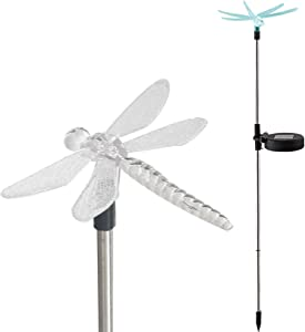 Waterproof Outdoor Solar Garden Stake Light with Vivid Color Charging Figurine –Dragonfly LED Garden Landscape Lawn Lamp for Flower Beds Backyards Decoration, 1Pack