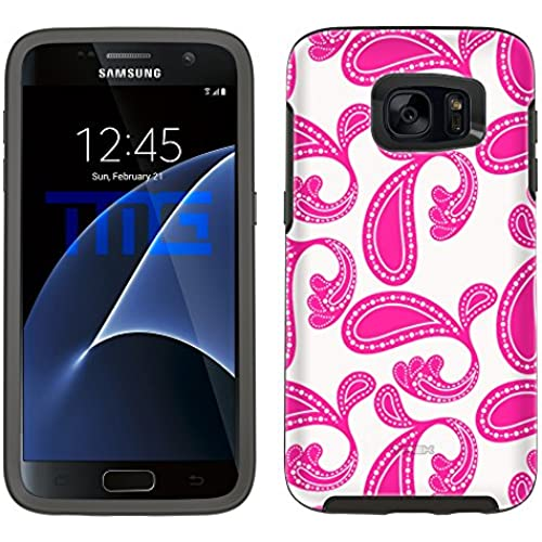 Skin Decal for Otterbox Symmetry Samsung Galaxy S7 Edge Case - Paisleys Bold Pink on White Sales