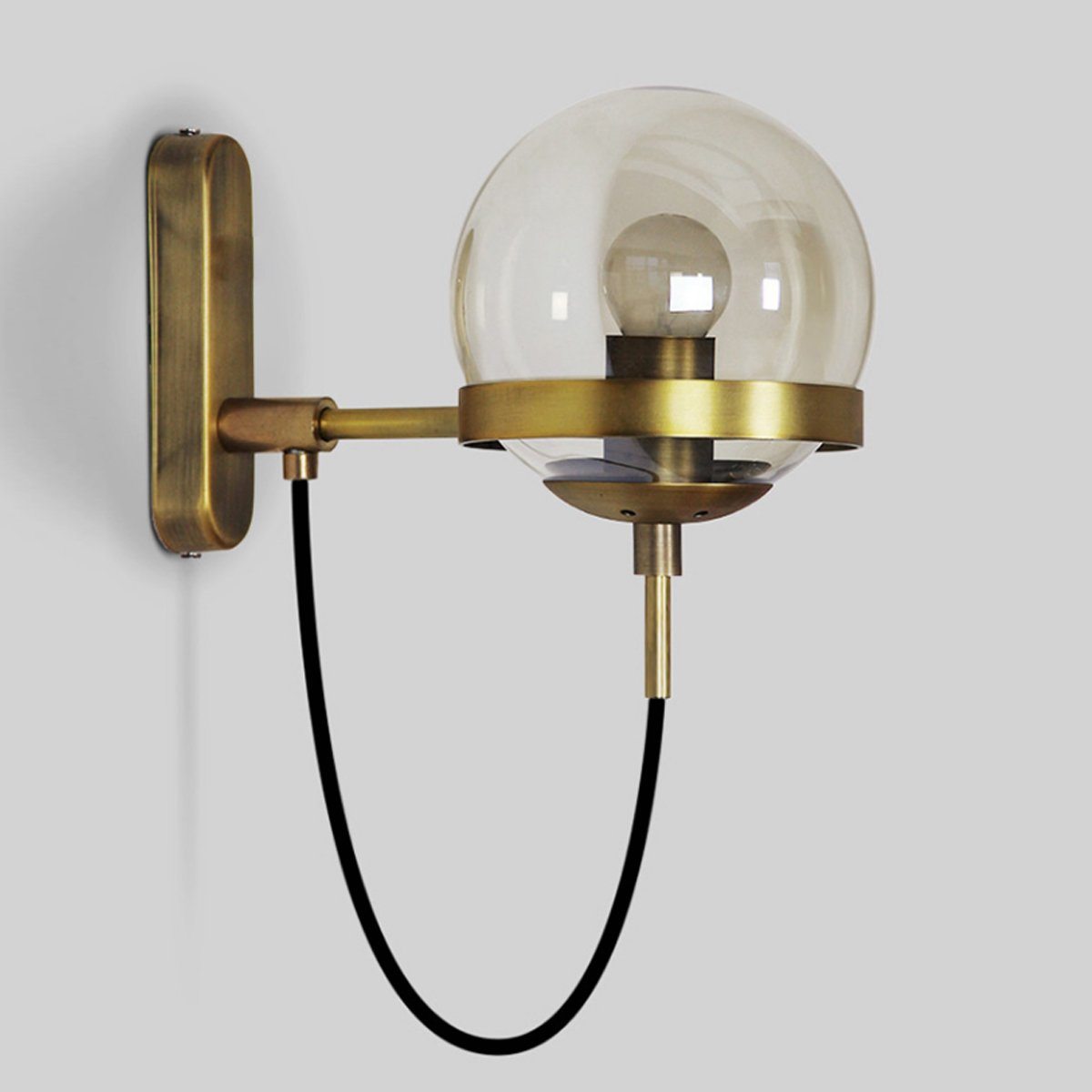 MASO Home MS-62013 Retro Sphere Shape Bedside Lamp Bedroom Wall Lamp Simple Cozy Room Glass Ball Wall Sconce (Bronze)