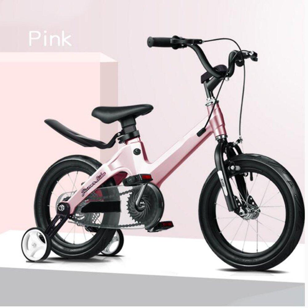 YANGFEI 子ども用自転車 18インチ子供用自転車ベビー用バイク6-10歳乳母車少年少女の自転車マグネシウム合金フレーム安全ディスクブレーキ 212歳 B07DWR2B71 ピンク ぴんく ピンク ぴんく