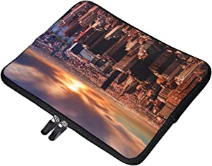 """High Angle View of Cityscape Against Cloudy Sky 10 Inch Laptop Sleeve Case Protective Cover Carrying Bag for 9.7"""" 10.5"""" iPad Pro Air/ 10"""" Microsoft Surface Go/ 10.5"""" Samsung Galaxy Tab"""