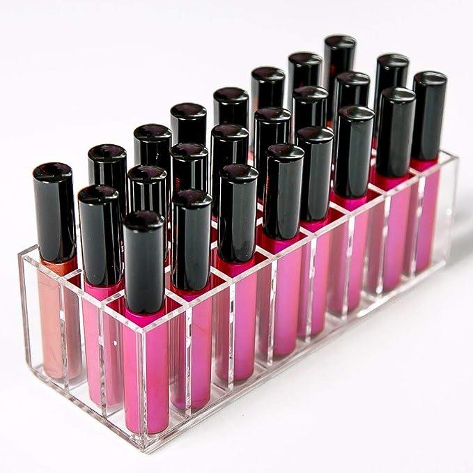 Aila - Organizador de Maquillaje acrílico para pintalabios, Estuche Compacto con Separador de Almacenamiento: Amazon.es: Hogar