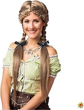 Krause & Sohn Peluca de trenza Heidi rubia Oktoberfest: Amazon.es ...