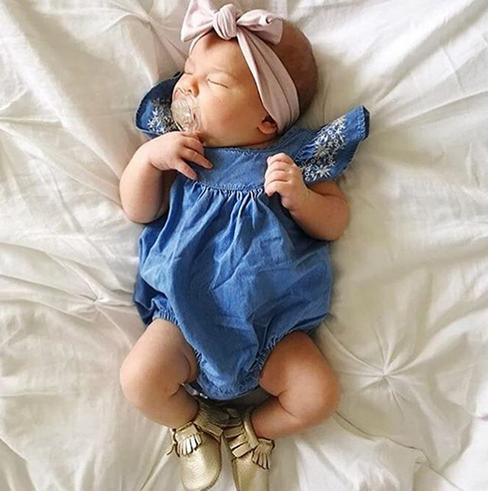 NOMSOCR Infant Baby Girls Sleeveless One-Pieces Ruffle Denim Romper Jumpsuit Bodysuit Outfits Clothes 0-24 Months