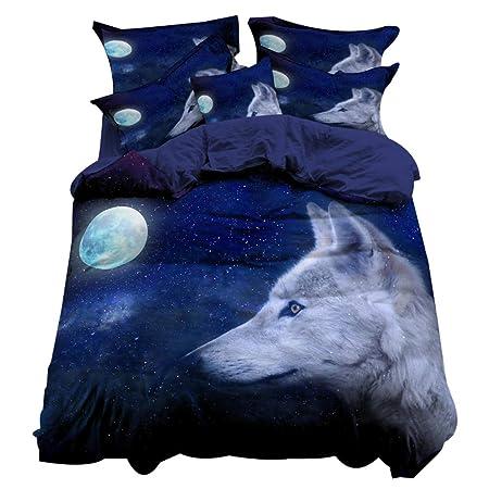 3D Wolf Moonlight Animal Print Quilt Duvet Cover with Pillow Case Bedding Set
