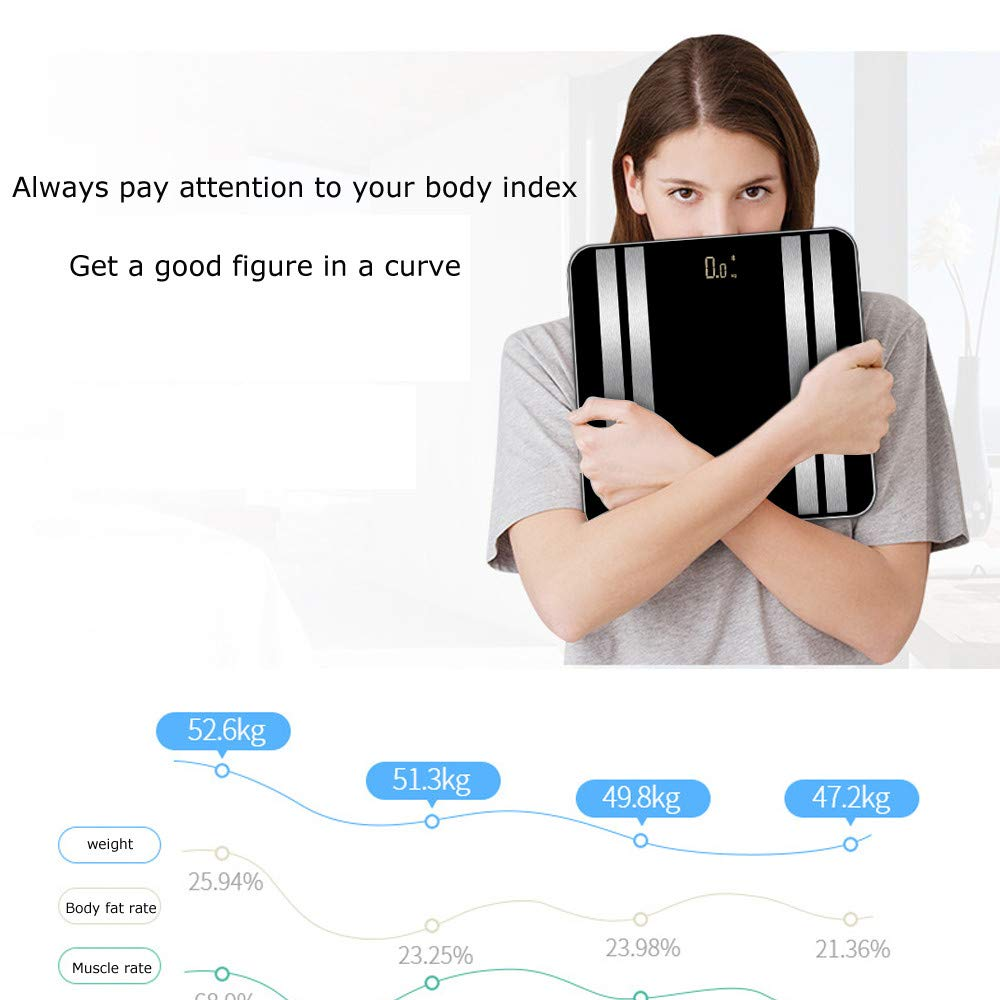 JinJin Scale Bluetooth Body Scale Smart Scale Digital Bathroom Wireless Weight Scale iOS & Android APP for Body Weighc (black) by Jinjin (Image #7)