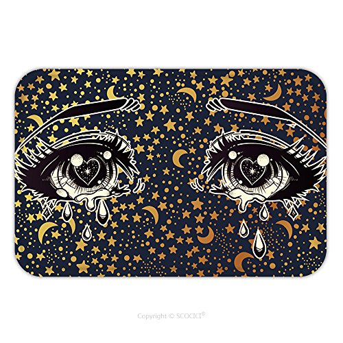 Flannel Microfiber Non-slip Rubber Backing Soft Absorbent Doormat Mat Rug Carpet Crying Beautiful Eyes In Anime Or Manga Style With Teardrops And Light Reflections On Starry 491537272 for - Doctor In Nyc Eye