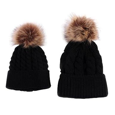 e0e4d0ef468 BOBORA Family Hats Mother   Baby Winter Warm Knit Hat Crochet Beanie Ski Cap