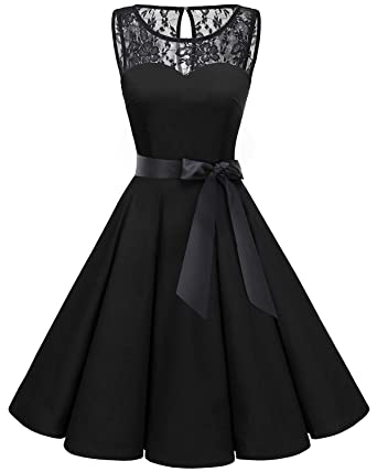 20b4e3b259e Bbonlinedress Women s 1950s Vintage Rockabilly Swing Dress Lace Cocktail  Prom Party Dress Black XS