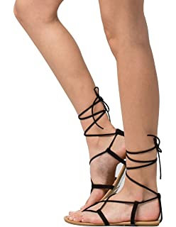 92e163b13e5 City Classified Lace Up Leg Wrap Nude Sandals