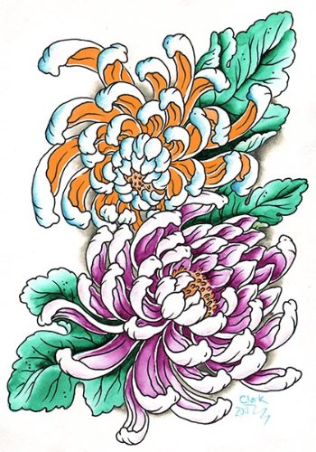 Amazoncom Wild Mums By Clark North Asian Floral Flowers Tattoo