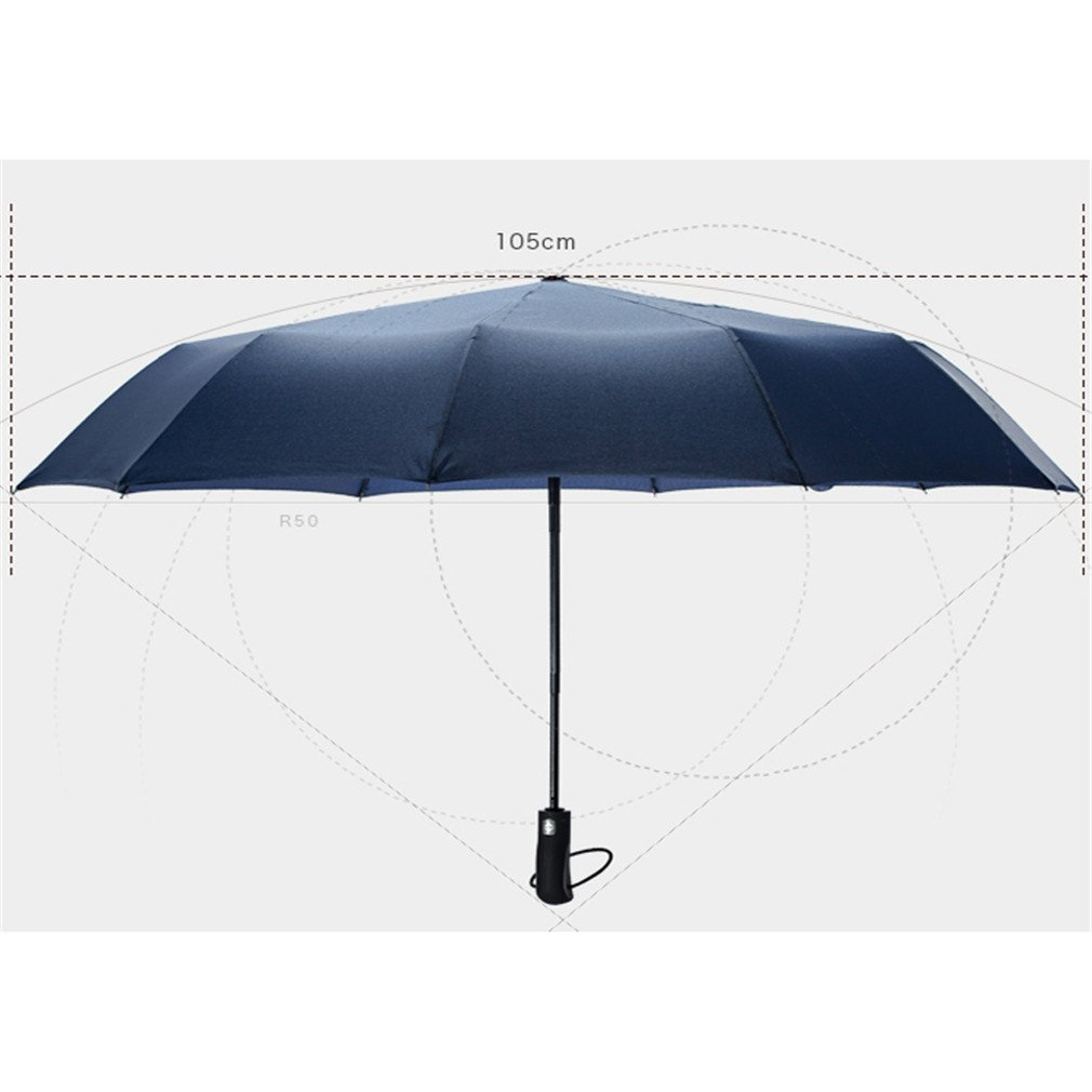 Guoke A Key To Business Men And Women Fully Automatic Folding Umbrella With Fine Rain Two King-Size Rugged, Purple by Guoke (Image #3)