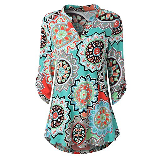 - Womens Floral Printed Tunic Shirts 3/4 Roll Sleeve Notch Neck Casual Tunic Top, Fashion Style for Ladies and Girl