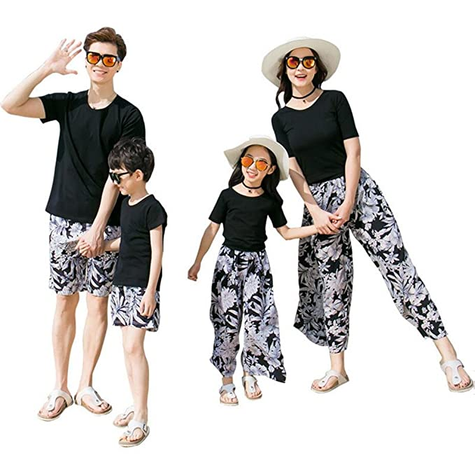 a6c29790bd2 Elufly Mom Dad   Babies Floral Family Clothes Tops Pants Sets Parent-Child  Outfits (