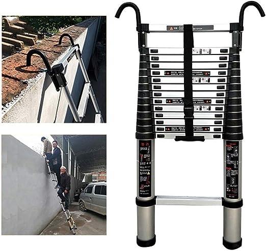 Escalera telescópica Telescópico Extensión Escalera con Ganchos, Tarea Pesada Aluminio Telescópico Escaleras Plegables para la Oficina del ático del Techo, Carga máxima 150kg / 330lb: Amazon.es: Hogar