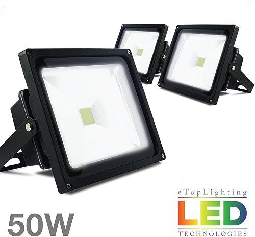 ETOPLIGHTING 3-Pack 50W 120V Outdoor LED Flood Light Wall, Ground, Ceiling Mountable, Daylight White 6000K, 50,000 Life Hours, APL1505
