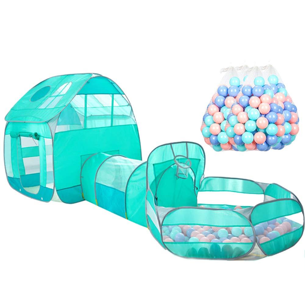 400oceanballs XIAO&Z Kinder Bällebad Kinder Tunnelzelt Pop Up Zelt Kinderspielzelt Baby Spielhaus Outdoor mit Mini Basketballkorb Grün